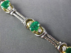 ESTATE WIDE 4.38CTW DIAMOND & AAA EMERALD 14KT TWO TONE GOLD 3 STONE BRACELET