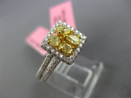 .88CT WHITE & FANCY YELLOW DIAMOND 18KT WHITE GOLD SQUARE FRIENSHIP PROMISE RING