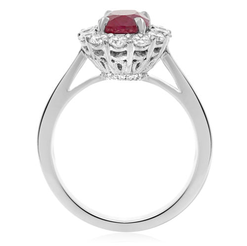 GIA CERTIFIED 2.46CT DIAMOND & AAA RUBY 18K WHITE GOLD OVAL HALO ENGAGEMENT RING
