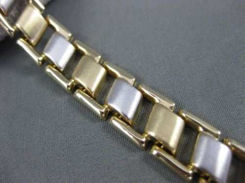 ESTATE WIDE & LONG 14KT WHITE & YELLOW GOLD FLAT SQUARE LINK BRACELET #22736