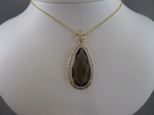 LARGE ANTIQUE SMOKEY TOPAZ 14KT PINK ROSE GOLD FILIGREE TEARDROP PENDANT #20947