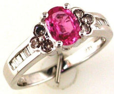 ESTATE 1.30CT DIAMOND & AAA PINK SAPPHIRE 14KT WHITE GOLD 3D ENGAGEMENT RING