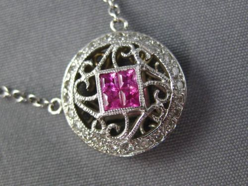 .55CT DIAMOND & PINK SAPPHIRE 14K WHITE GOLD ROUND FILIGREE BY THE YARD NECKLACE