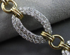 ESTATE WIDE & LONG 3CT DIAMOND 14K WHITE & YELLOW GOLD OVAL LINK TENNIS BRACELET