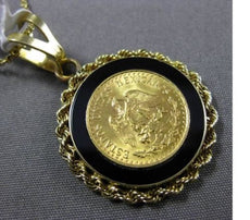 ESTATE ESTADOS UNIDOS MEXICANOS 14KT YELLOW GOLD ONYX HANDCRAFTED COIN PENDANT