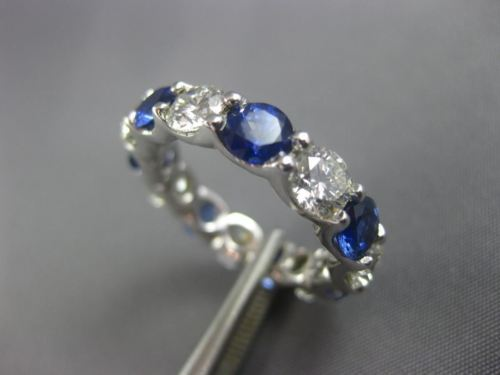 LARGE 8.95CT DIAMOND & AAA SAPPHIRE PLATINUM ETERNITY WEDDING ANNIVERSARY RING