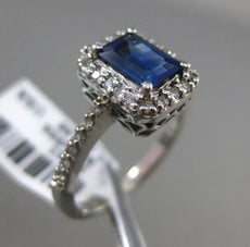 ESTATE 1.40CT DIAMOND & SAPPHIRE 14K WHITE GOLD HALO EMERALD CUT ENGAGEMENT RING