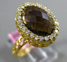 ESTATE 2.90CT DIAMOND & AAA SMOKEY TOPAZ 14KT YELLOW GOLD 3D FILIGREE OVAL RING