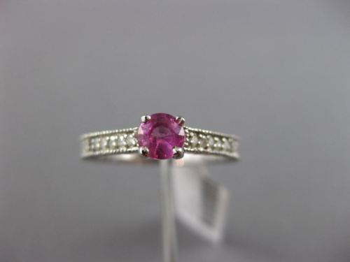 ESTATE .52CT DIAMOND & AAA PINK SAPPHIRE 14K WHITE GOLD FILIGREE ENGAGEMENT RING