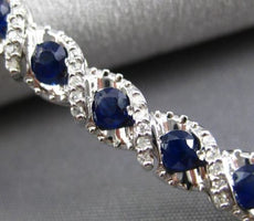 ESTATE 6.50CT DIAMOND & SAPPHIRE 14K WHITE GOLD 3D INFINITY LOVE TENNIS BRACELET