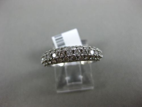 ESTATE 1.10CT DIAMOND 14KT WHITE GOLD 3D THREE ROW PAVE WEDDING ANNIVERSARY RING