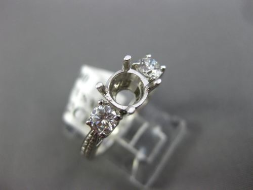 .42CT DIAMOND 14KT WHITE GOLD 3D FILIGREE HEART SEMI MOUNT ENGAGEMENT RING #1024