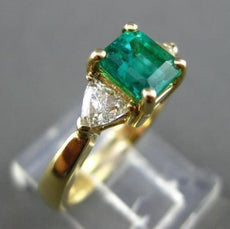 ESTATE 1.67CT DIAMOND & EMERALD 18KT YELLOW GOLD 3 STONE ENGAGEMENT RING #21050