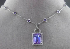 ESTATE LARGE 5.95CT DIAMOND & AMETHYST 14KT WHITE GOLD HALO BY THE YARD NECKLACE