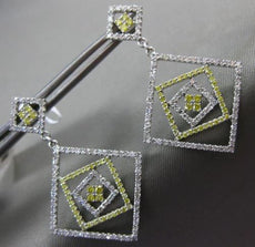 LARGE .74CT WHITE & FANCY YELLOW DIAMOND 14KT WHITE GOLD SQUARE HANGING EARRINGS