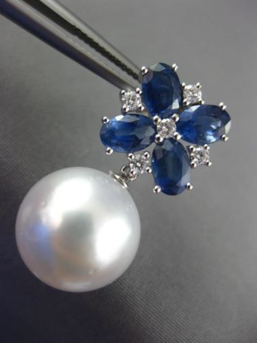 LARGE 5CT DIAMOND & AAA SAPPHIRE SOUTH SEA PEARL 18KT WHITE GOLD FLOWER EARRINGS