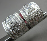 ESTATE WIDE 1.44CT ROUND & BAGUETTE DIAMONDS 18K WHITE GOLD 3D UMBRELLA EARRINGS