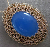 ESTATE LARGE BLUE QUARTZ 14K ROSE GOLD DIAMOND CUT FILIGREE OVAL PENDANT & CHAIN