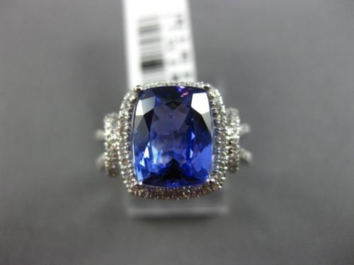 LARGE 3.27CT DIAMOND & AAA TANZANITE 18KT WHITE GOLD HALO SQUARE ENGAGEMENT RING