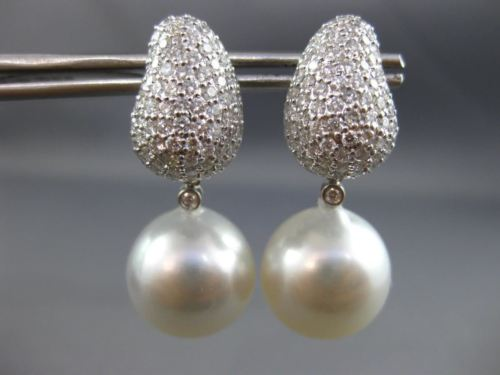 LARGE 2.50CT DIAMOND & AAA SOUTH SEA PEARLS 18K WHITE GOLD PAVE HANGING EARRINGS