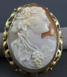 ANTIQUE LARGE 14K YELLOW & ROSE GOLD FLORAL LADY SHELL CAMEO PENDANT & PIN 22497