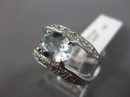WIDE 1.70CT DIAMOND & AAA OVAL AQUAMARINE 14K WHITE GOLD 3D WAVE ENGAGEMENT RING