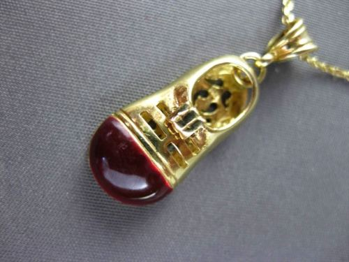 ANTIQUE 14KT YELLOW GOLD RED ENAMEL HANDCRAFTED FILIGREE BABY SHOE PENDANT 23511