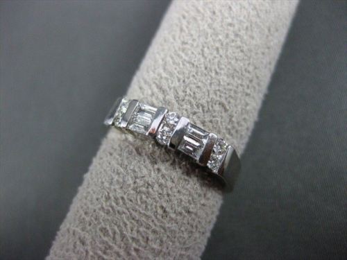 ANTIQUE .37CT DIAMOND 14KT WHITE GOLD BAGUETTE & ROUND ANNIVERSARY RING #12435