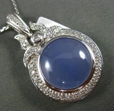 ESTATE LARGE 11.31CT DIAMOND & BLUE QUARTZ 14KT WHITE GOLD 3D FILIGREE PENDANT