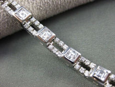 ANTIQUE 4.0CTW ASHER & ROUND CUT DIAMOND 18KT WHITE GOLD TENNIS BRACELET #2770