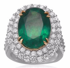 EXTRA LARGE GIA CERTIFIED 12.1CT DIAMOND & AAA EMERALD 18K 2 TONE GOLD HALO RING