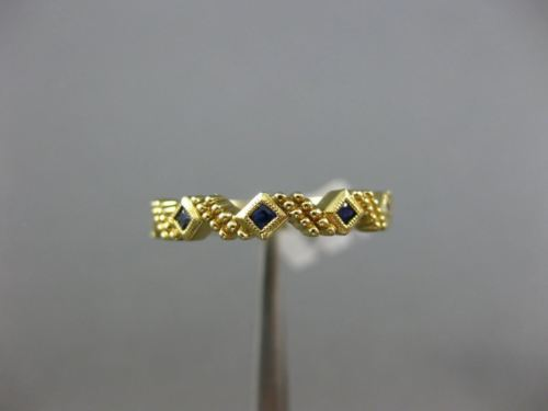 .16CT AAA SAPPHIRE 14KT YELLOW GOLD 3D FILIGREE ZIG ZAG WEDDING ANNIVERSARY RING