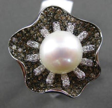 ESTATE 1.99CT DIAMOND & AAA NATURAL SOUTH SEA PEARL 18KT WHITE GOLD FLORAL RING