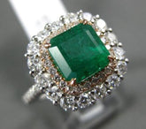 ESTATE LARGE 3.55CT DIAMOND & EMERALD 14K WHITE & ROSE GOLD HALO ENGAGEMENT RING