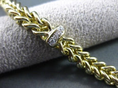 ESTATE WIDE .25CT DIAMOND 14KT WHITE & YELLOW GOLD SOLID WOVEN BRACELET #19805