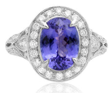 ESTATE WIDE 3.18CT DIAMOND & AAA TANZANITE 18KT WHITE GOLD HALO ENGAGEMENT RING
