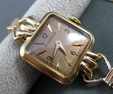 ANTIQUE 14KT ROSE GOLD JAEGER-LECOULTER SQUARE SWISS MADE WATCH 29 X 20mm 22937
