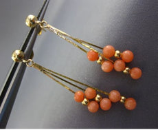 ESTATE LONG AAA ROUND CORAL 14K YELLOW GOLD 3D HANDCRAFTED BEAD HANGING EARRINGS