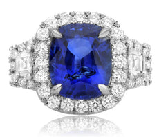 EGL CERTIFIED LARGE 6CT DIAMOND & AAA SAPPHIRE PLATINUM 3 STONE ENGAGEMENT RING