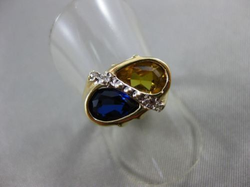 ANTIQUE 1.79CT DIAMOND CITRINE SAPPHIRE 14KT YELLOW GOLD DOUBLE PEAR RING #21449