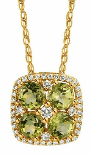 1.38CT DIAMOND & AAA PERIDOT 14KT YELLOW GOLD 3D CLUSTER FLOWER SQUARE PENDANT
