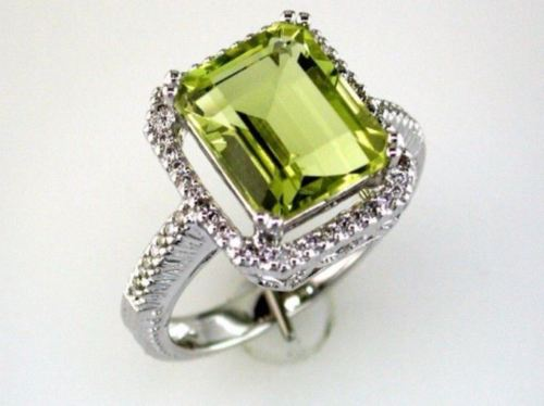 ESTATE 4.75CT DIAMOND & AAA LEMON QUARTZ 14KT WHITE GOLD 3D SQUARE HALO FUN RING