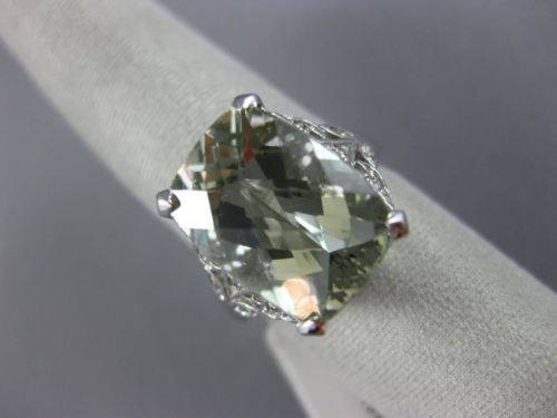 EXTRA LARGE 8.10CT DIAMOND & AAA GREEN AMETHYST 14K WHITE GOLD 3D FILIGREE RING