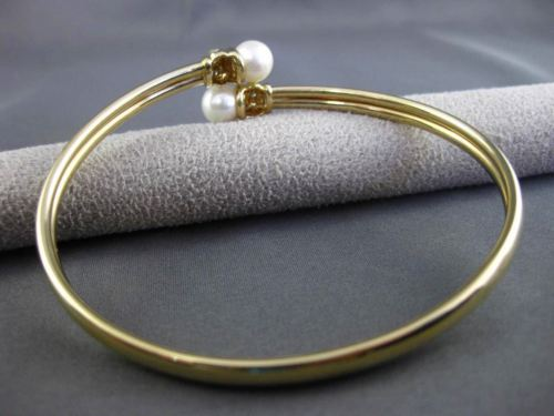 ESTATE DIAMOND & SOUTH SEA PEARL 14KT YELLOW GOLD FLEXIBLE BANGLE BRACELET 19891