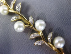 ESTATE LONG .25CT DIAMOND & AAA SOTH SEA PEARL 14KT 2 TONE GOLD 3D LEAF BRACELET