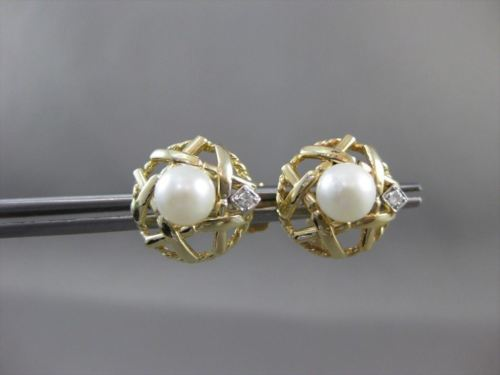 ANTIQUE .04CT DIAMOND & AAA SOUTH SEA PEARL 14KT W&Y GOLD EARRINGS AMAZING ELV28