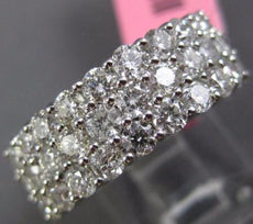 ESTATE WIDE 5.20CT DIAMOND 18K WHITE GOLD 3D THREE ROW ETERNITY ANNIVERSARY RING