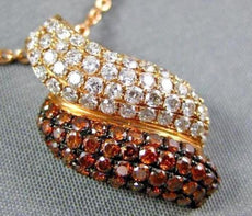1.36CT WHITE & ORANGE DIAMOND 18KT ROSE GOLD 3D MULTI ROW PAVE WAVE FUN PENDANT