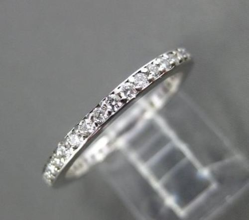 ANTIQUE .65CT DIAMOND 14KT WHITE GOLD ROUND ETERNITY RING 1.5mm BEAUTIFUL #17966