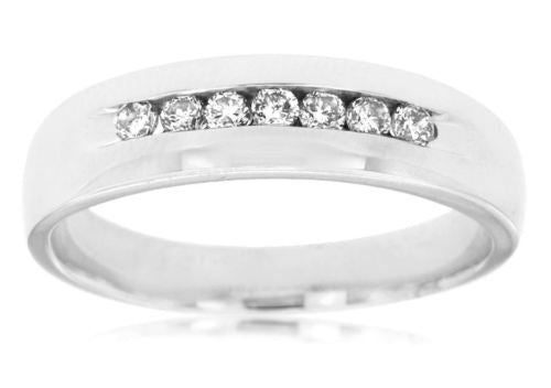 ESTATE .25CT DIAMOND 14KT WHITE GOLD 3D 7 STONE CHANNEL WEDDING ANNIVERSARY RING